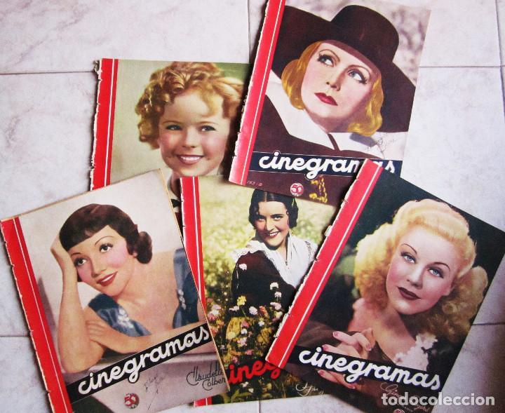 5 REVISTAS CINEGRAMAS GRETA GARBO, SHIRLEY TEMPLE, GINGER ROGERS, IMPERIO ARGENTINA,CLAUDETTE COLBER (Cine - Revistas - Cinegramas)