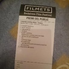 Cine: FOLLETO PARA VOTAR EN FESTIVAL CORTOMETRAJES FILMETS BADALONA N 3. Lote 110815279