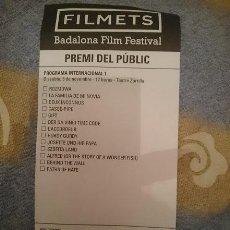 Cine: FOLLETO PARA VOTAR EN FESTIVAL CORTOMETRAJES FILMETS BADALONA N 2. Lote 110815367