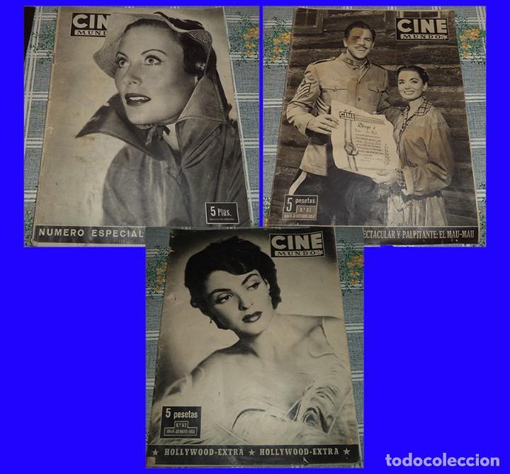 CINE MUNDO 3 REVISTAS GINA LOLLOBRIGIDA AMPARITO RIVELLES JOHN HUSTON FUTBOL VALENCIA CAMPEON (Cine - Revistas - Cine Mundial)