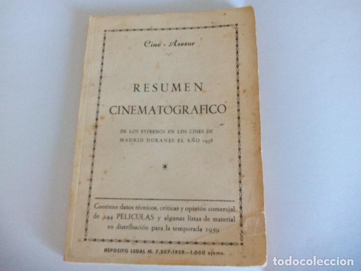 RESUMEN CINEMATOGRÁFICO 1958 (Cine - Revistas - Papeles de cine)