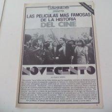 Cine: NOVECENTO. LAS MEJORES PELICULAS DE LA HISTORIA DEL CINE COLECCIONABLE REVISTA FOTOGRAMAS. Lote 117011999
