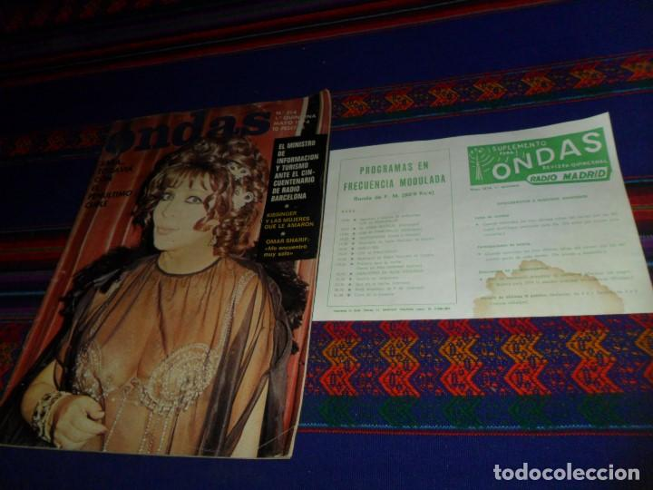 ONDAS Nº 514 CON SUPLEMENTO PROGRAMAS RADIO MADRID. MAYO 1974. SARA MONTIEL OMAR SHARIFF KISSINGER. (Cine - Revistas - Ondas)
