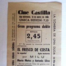 Cine: CINE CASTILLA, CARTEL 16 ENERO 1946, EL FRESCO DE COSTA Y PENDENCIERO INDESEABLE. Lote 117735871