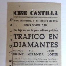 Cine: CINE CASTILLA, CARTEL 11 ENERO 1946, LA LLAMADA DEL MAR. Lote 117749775