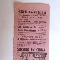 Cine: CINE CASTILLA, CARTEL 13 ENERO 1946, LAS AVENTURAS DEL BARON MUNCHHAUSEN - SUCEDIO EN CHINA. Lote 117751419