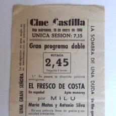 Cine: CINE CASTILLA, CARTEL 16 ENERO 1946, EL FRESCO DE COSTA Y PENDENCIERO INSACIABLE. Lote 117751903