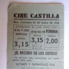 Cine: CINE CASTILLA, CARTEL 30 DE ENERO DE 1946, LAS MIL Y UNA NOCHES. Lote 117754331