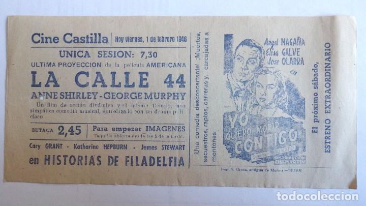 CINE CASTILLA, CARTEL 1 DE FEBRERO DE 1946, LA CALLE 44 (Cine - Revistas - Papeles de cine)