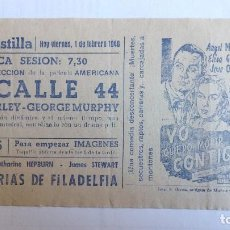 Cine: CINE CASTILLA, CARTEL 1 DE FEBRERO DE 1946, LA CALLE 44. Lote 243075850