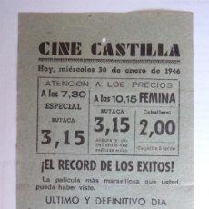 Cine: CINE CASTILLA, CARTEL 30 DE ENERO DE 1946, LAS MIL Y UNA NOCHES. Lote 117755215