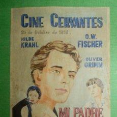 Cine: RECREACION - FOLLETO - PELÍCULA - FILM - MI PADRE EL ACTOR - CINE CERVANTES. Lote 118670635