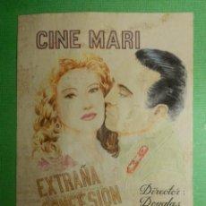 Cine: RECREACION - FOLLETO - PELÍCULA - FILM - EXTRAÑA CONFESIÓN - CINE MARI. Lote 118670967