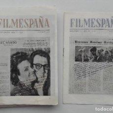 Cine: FILMESPAÑA, LOTE 25 SUPLEMENTOS AÑO 1961-62-63, CARPETA INFORMATIVA FILMESPAÑA. Lote 119259171