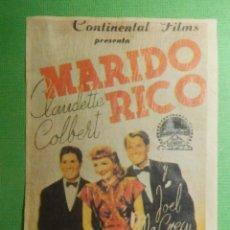 Cine: REPRODUCCIÓN - FOLLETO - PELÍCULA - FILM - MARIDO RICO. Lote 119344403
