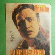 Cine: RECREACION - FOLLETO - PELÍCULA - FILM - LA LEY DEL SILENCIO. Lote 119345279