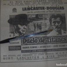 Cine: DUELO DE TITANES, KIRK DOUGLAS Y BURT LANCASTER. PARAMOUNT, OK CORRAL.. Lote 122067167
