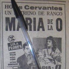 Cine: MARIA DE LA O. LOLA FLORES, GUSTAVO ROJO, MANUEL LUNA. SUEVIA FILMS.. Lote 122069703