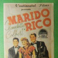 Cine: REPRODUCCIÓN - FOLLETO - CINE - PELÍCULA - FILM - LARGOMETRAJE - MARIDO RICO. Lote 122313951