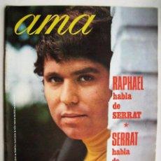 Cine: RAPHAEL Y SERRAT. MARÍA FÉLIX. REVISTA AMA . 1969.. Lote 124702099