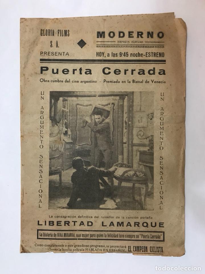 CARCAGENTE. CINE MODERNO. PUERTA CERRADA, CON LIBERTAD LAMARQUE. FOLLETO CINEMATOGRÁFICO (H.1940?) (Cine - Reproducciones de carteles, folletos...)