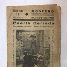 Cine: CARCAGENTE. CINE MODERNO. PUERTA CERRADA, CON LIBERTAD LAMARQUE. FOLLETO CINEMATOGRÁFICO (H.1940?). Lote 126728362