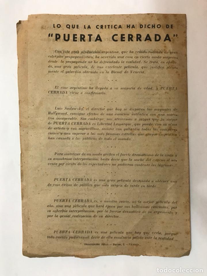 Cine: CARCAGENTE. Cine Moderno. PUERTA CERRADA, con Libertad Lamarque. Folleto cinematográfico (h.1940?) - Foto 3 - 126728362