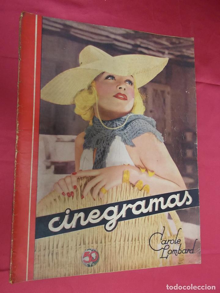 REVISTA CINEGRAMAS. Nº 10. NOVIEMBRE 1934. CINEGRAMAS CAROLE LOMBARD EN PORTADA (Cine - Revistas - Cinegramas)