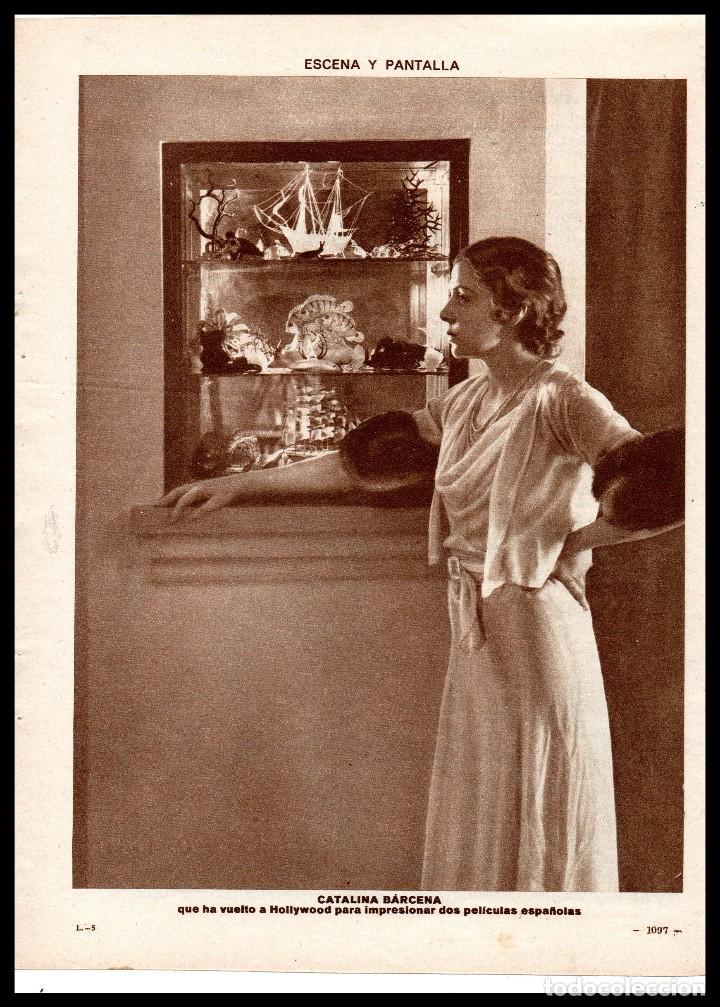 HOJA REVISTA, CATALINA BARCENA, ACTRIZ NACIO EN CUBA 1888. (Cine - Revistas - Papeles de cine)