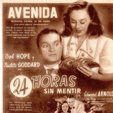 Cine: HOJA REVISTA, PELICULA, 24 HORAS SIN MENTIR, BOB HOPE Y PAULETTE GODDARD.. Lote 127140439