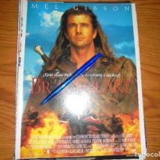 Cine: PUBLICIDAD PELICULA : BRAVEHEART. MEL GIBSON. CINEMANIA, OCTBRE 1995. Lote 127571175