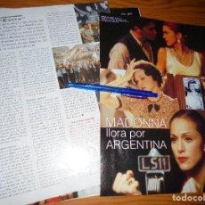Cine: RECORTE PRENSA : MADONNA LLORA POR ARGENTINA. EVITA. FOTOGRAMAS, ENERO 1997. Lote 128091439