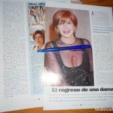 Cine: RECORTE PRENSA : CONCHA VELASCO, EL REGRESO DE UNA DAMA. CINERAMA, DCMBRE 1996. Lote 128093263