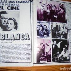 Cine: RECORTE PRENSA : PELICULAS FAMOSAS : CASABLANCA. BOGART, INGRID BERGMAN. FOTOGRAMAS, MARZO 1986. Lote 128156895