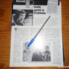 Cine: RECORTE PRENSA : DAVID BOWIE EN LA PELICULA : MERRY CHRISTMAS, MR. LAWRENCE. CINEMA 2002, MAY, 1980. Lote 128158255