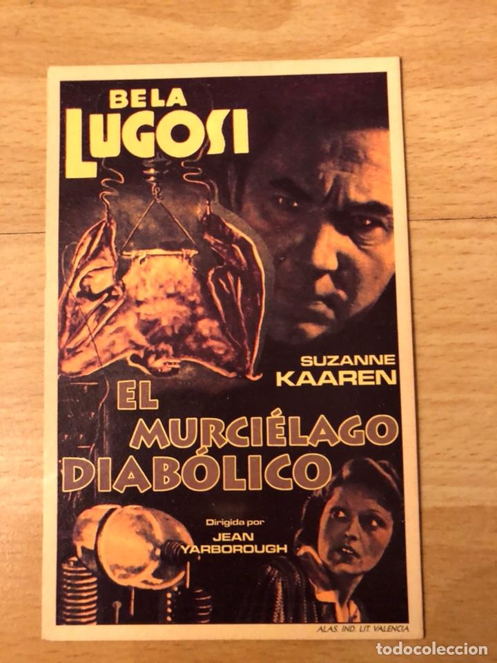 PROGRAMA CARTÓN FACSÍMIL CINE TERROR EL MURCIÉLAGO DIABÓLICO.BELA LUGOSI (Cine - Reproducciones de carteles, folletos...)