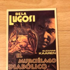 Cinema: PROGRAMA CARTÓN FACSÍMIL CINE TERROR EL MURCIÉLAGO DIABÓLICO.BELA LUGOSI. Lote 128678072