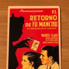Cine: PROGRAMA CARTÓN FACSÍMIL CINE TERROR EL RETORNO DE FU MANCHU. Lote 128678644