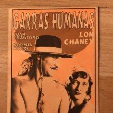 Cine: PROGRAMA CARTÓN FACSÍMIL CINE TERROR.GARRAS HUMANAS.LON CHANEY JOAN CRAWFORD. Lote 128678684