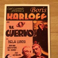 Cine: PROGRAMA CARTÓN FACSÍMIL CINE TERROR BORIS KARLOFF BELA LUGOSI EL CUERVO. Lote 128678740