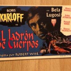 Cine: PROGRAMA CARTÓN FACSÍMIL CINE TERROR BORIS KARLOFF BELA LUGOSI.EL LADRON DE CUERPOS. Lote 128678758
