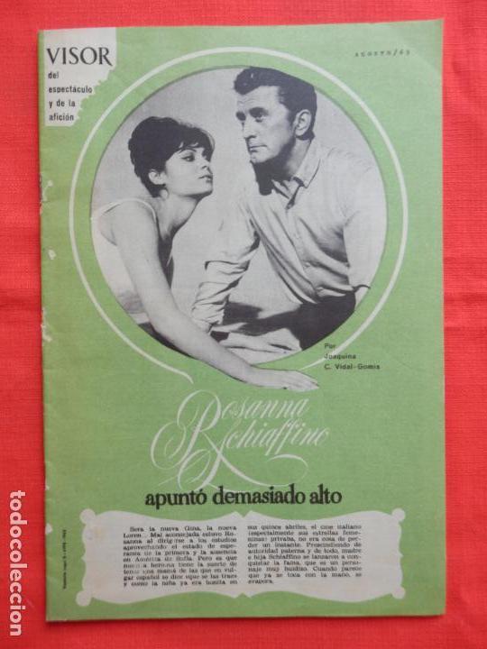 REVISTA VISOR DEL ESPECTACULO Y DE LA AFICION, ROSANNA SCHIAFFINO, 1963,20 PÁGINAS (Cine - Revistas - Otros)