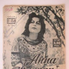 Cine: COLECCIÓN ÍDOLOS DEL CINE. AÑO II NÚMERO 47. 1958. ANNA MAGNANI. 16 X 12 CM. . Lote 128833915