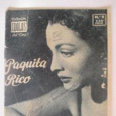 Cine: COLECCIÓN ÍDOLOS DEL CINE. AÑO I NÚMERO 9. 1958. PAQUITA RICO. 16 X 12 CM.. Lote 128833955