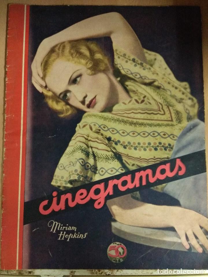 REVISTA CINEGRAMAS Nº 53 DEL 15/05/1935 . EN PORTADA MIRIAM HOPKINS (Cine - Revistas - Cinegramas)