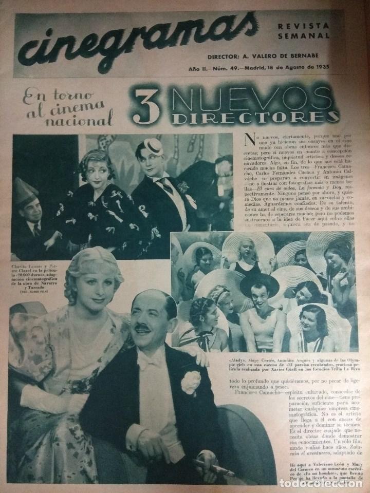 Cine: Revista CINEGRAMAS nº 49 del 18/08/1935 . En portada Margaret Sultavan - Foto 2 - 130807376