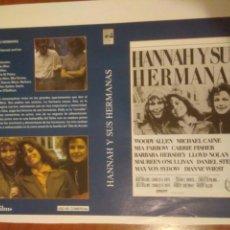 Cine: CARATULA CINE HANNAH Y SUS HERMANAS.MIA FARROW.WOODY ALLEN.MICHAEL CAINE.ATRAS MARIDOS Y MUJERES. Lote 132179561