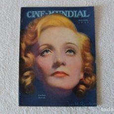 Cinema: REVISTA CINE MUNDIAL. VOL XVI Nº 11 NOVIEMBRE 1931 - PORTADA: MARLENE DIETRICH. Lote 135316090