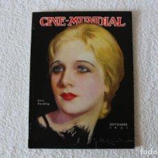 Cine: REVISTA CINE MUNDIAL. VOL XVI Nº 9 SEPTIEMBRE 1931 - PORTADA: ANN HARDING. Lote 152132616