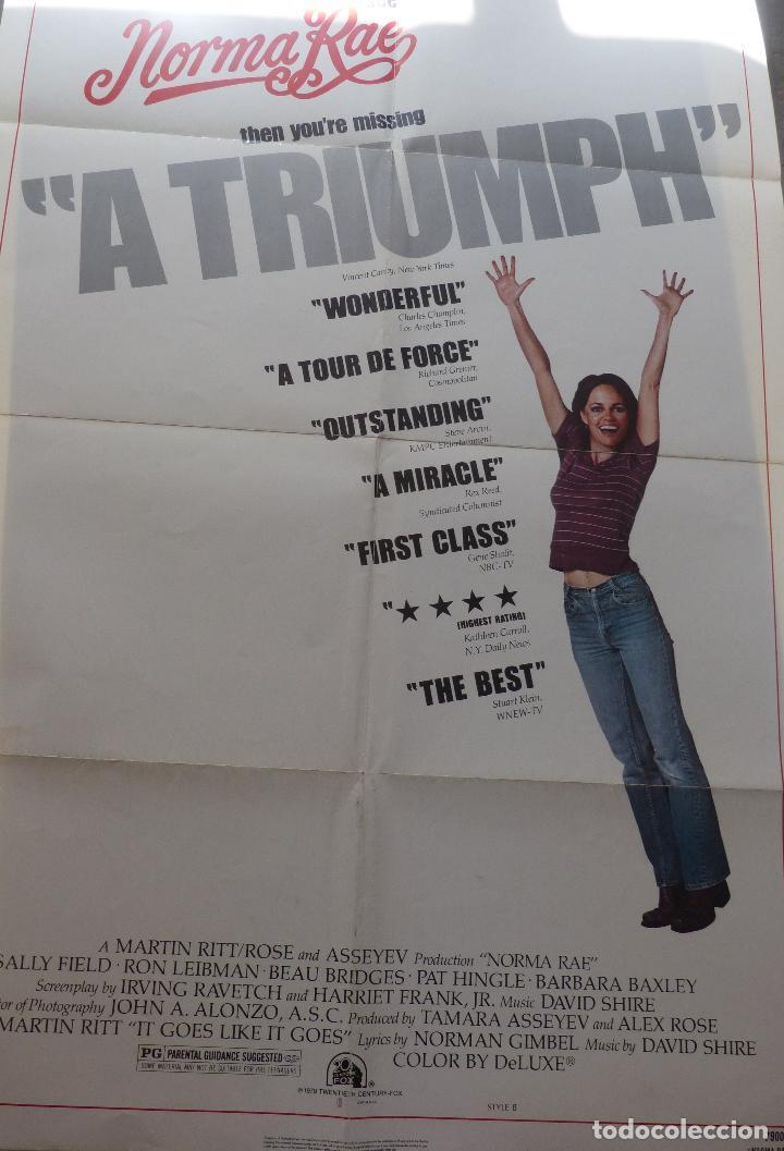 Cine: Poster de la película Norma Rae, 1979, 104 x 69, Original, Estilo B, Sally Field - Foto 7 - 135394962